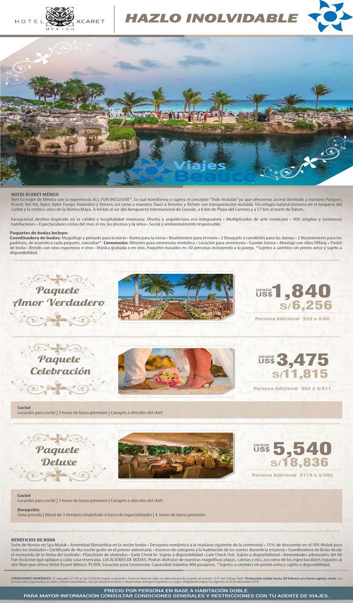 Hotel XCARET MEXICO te ofrece todo para su boda con Viajes BEAUCE..