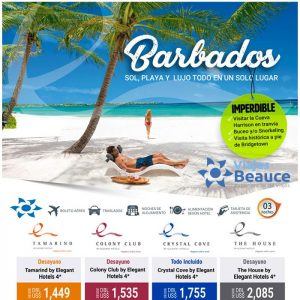 ¡Enteramente de las paradisiacas playas de Barbados! con Viajes BEAUCE.