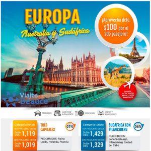 ¡Aprovecha los mejores descuentos en el 2do pasajero Para EUROPA, Austria y Sudáfrica con Viajes BEAUCE.