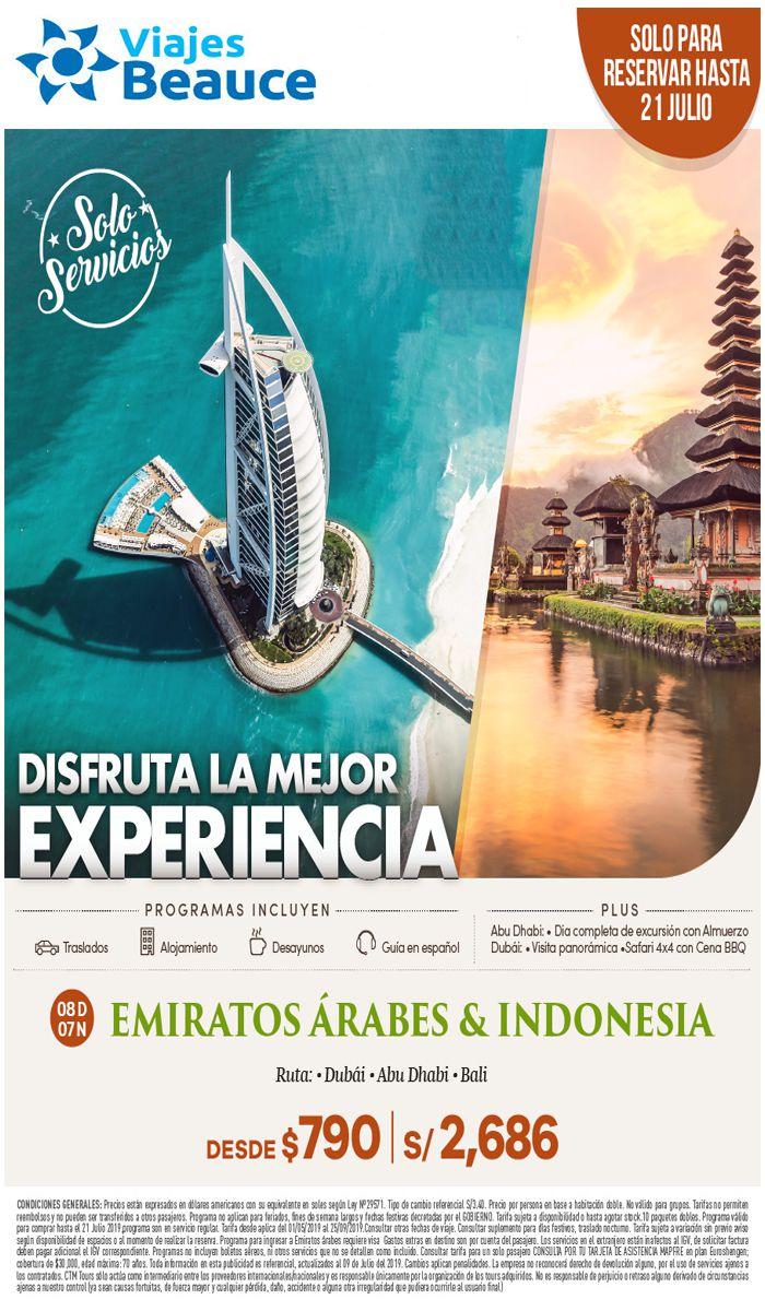 Te ofrecemos Emiratos Árabes & Indonesia con nosotros Viajes BEAUCE..