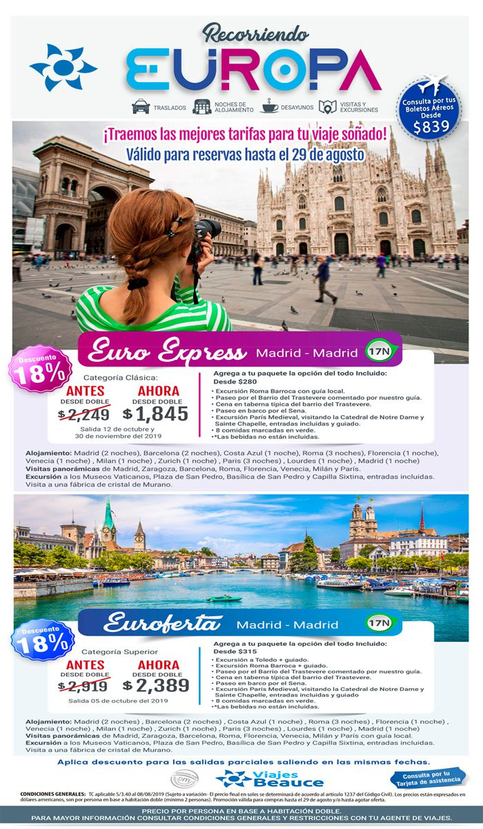 ¡Aprovecha descuento especial del 18%! ¡Recorriendo Europa con con Viajes BEAUCE!