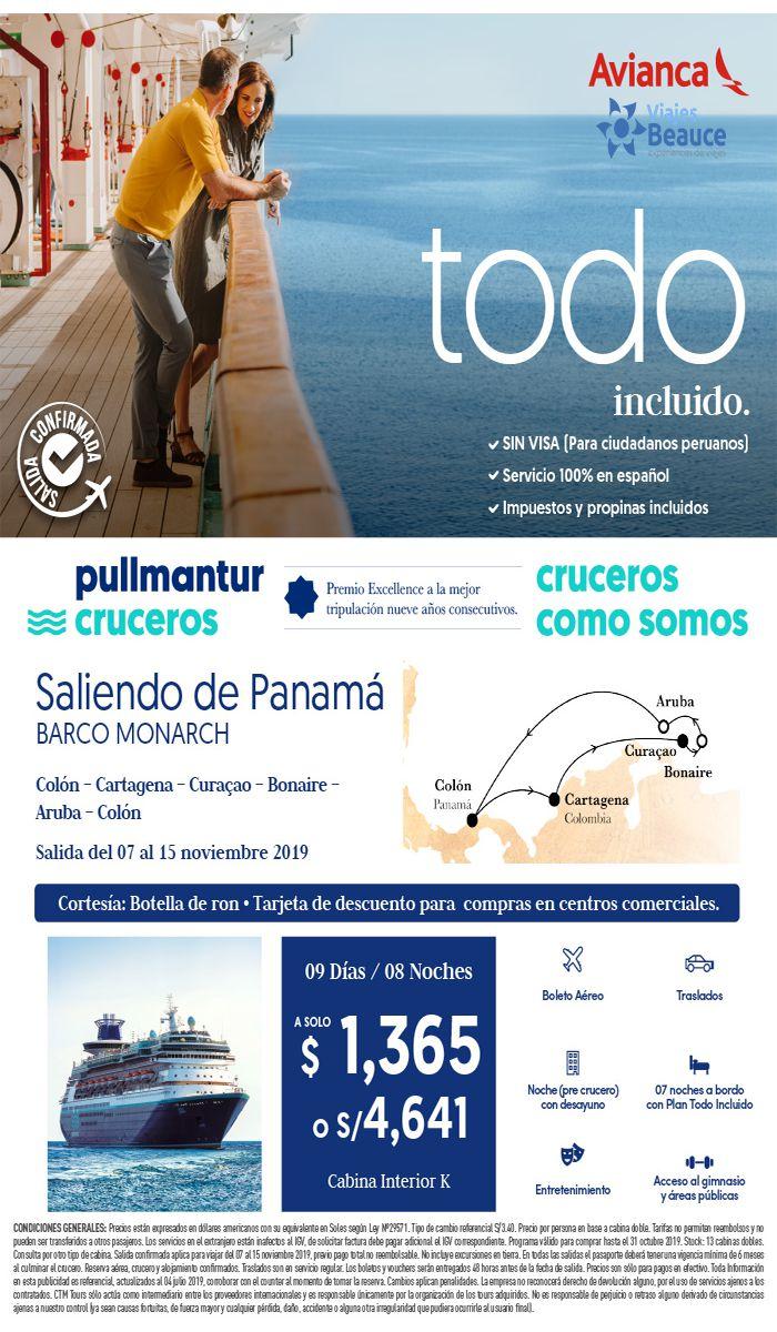 Bloqueo Pullmantur saliendo de Panamá del 07 al 15 noviembre con Viajes BEAUCE..