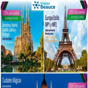 ¡Promoción Especial Europa 25% descuento! y Disfruta de los mejores lugares con Viajes baeauce.