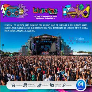 Fiesta Inolvidable… Lollapalooza! ¡Buenos Aires 2020 con Viajes BEAUCE.