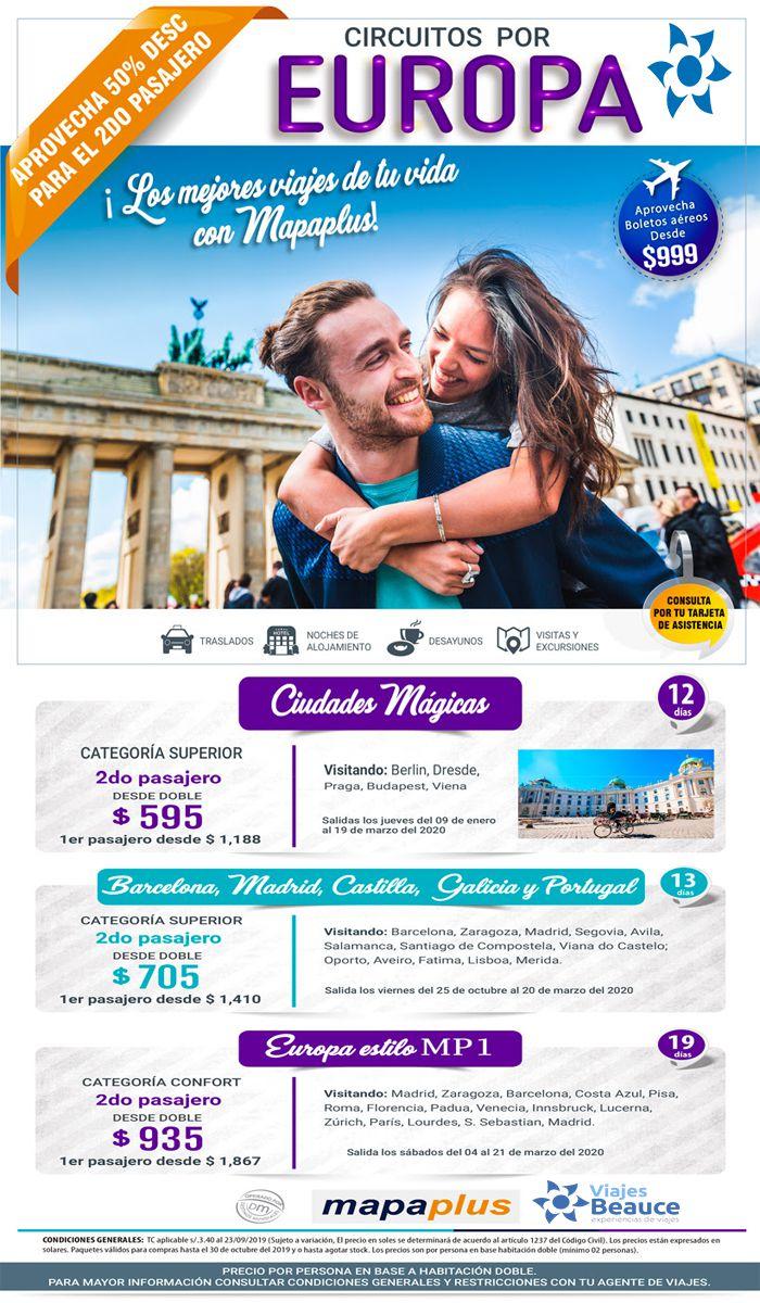 ¡Los mejores Viajes de tu Vida para Europa con el 50% de descuento en segundo pasajero con Viajes BEAUCE..