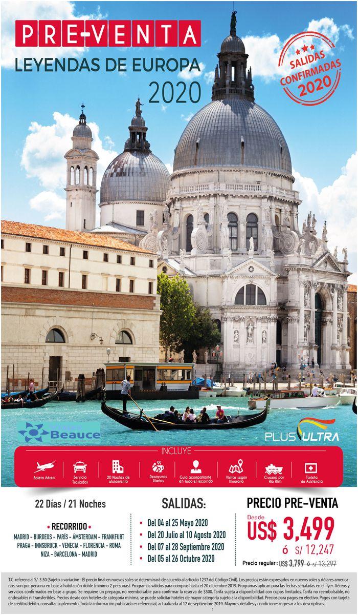 ¡APROVECHA NUESTRA PRE-VENTA LEYENDAS DE EUROPA 2020! con Viajes BEAUCE..