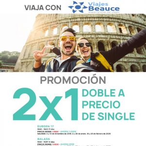 Viaja con BEAUCE Y  con la promoción 2×1, doble a precio de single para Europa..