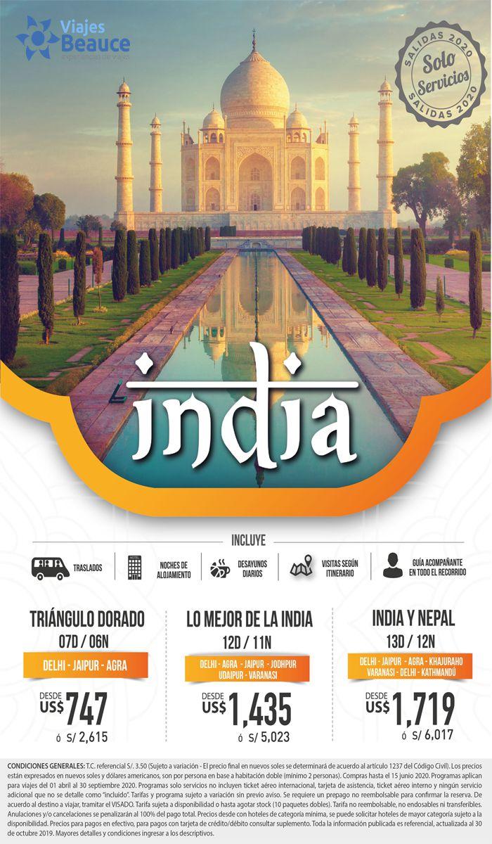 ¡DISFRUTA LO MEJOR DE LA INDIA!con Viajes BEAUCE,NO INCLUYE BOLETO.