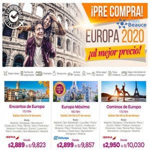 PRE-COMPRA ¡BLOQUEOS EUROPA 2020! con Viajes BEAUCE..