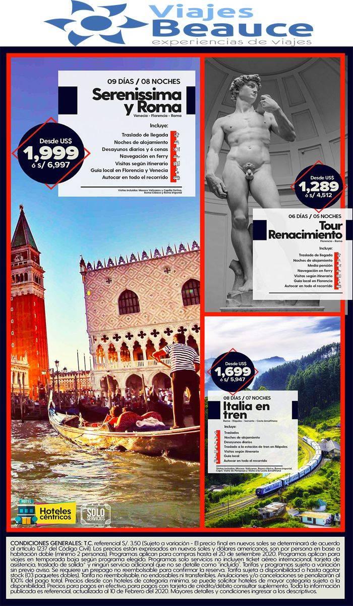 DISFRUTA ITALIA X 3!!! 👨👩 con Viajes BEAUCE..