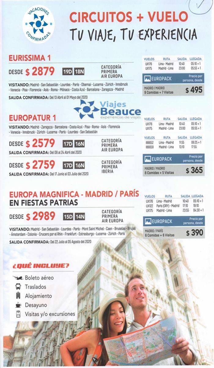 Circuitos + Vuelo nunca tanto por tan poco para que disfrute de Europa con Viajes BEAUCE..