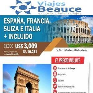 Tour a España, Francia, Suiza e Italia  desde USD 3,009 Con Viajes BEAUCE.