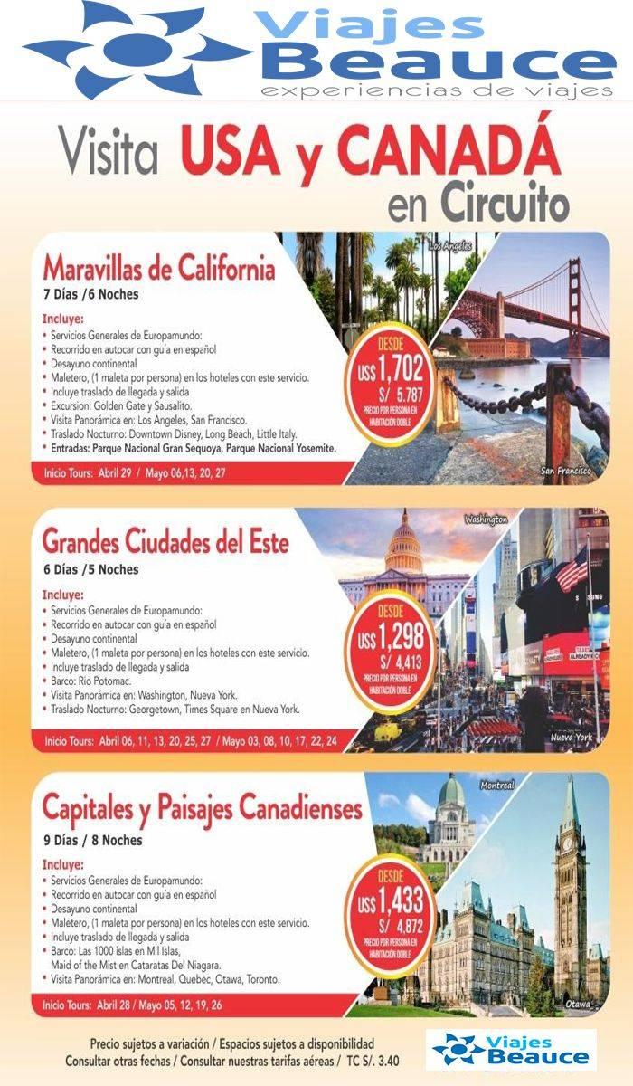 Circuitos en USA y Canadá con Viajes BEAUCE.