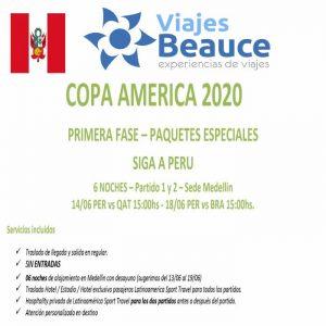 Copa América 2020 Primera fase-paquetes especiales con Viajes BEAUCE.